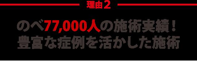 ★その2:のべ77,000人の施術実績! 豊富な症例を活かした施術